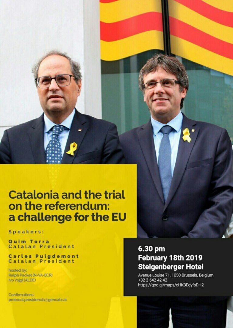 """Conferència """"Catalonia and the trial on the referendum: a challenge for the EU"""", Brussel·les. 18/02/2019"""