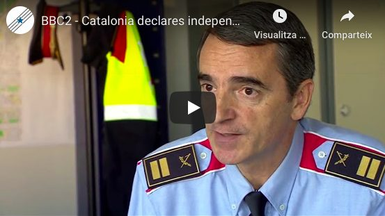 """Vídeo Canal ComuniCATs YouTube. BBC Two newsnight """"Catalonia declares independence""""."""