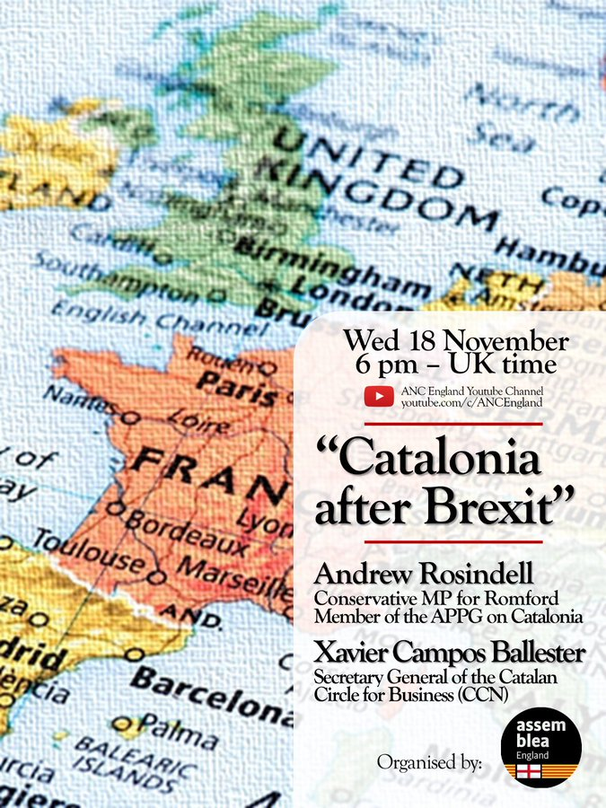 """""""Catalonia after Brexit""""  Panel debate on post-Brexit Anglo-Catalan geopolitical relations. @AndrewRosindell i Xavier Campos (@CCatalaNegocis) ANC England @ANCEngland"""